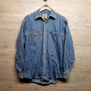 Vintage Cowboy Western Denim Button Down Shirt.